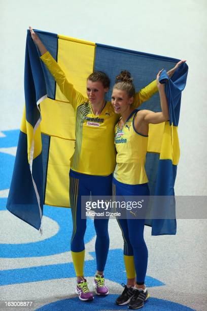 Bronze medalist Emma Green Tregaro of Sweden and silver medalist Ebba Jungmark of Sweden celebrate after the Women's High Jump Final during day three...