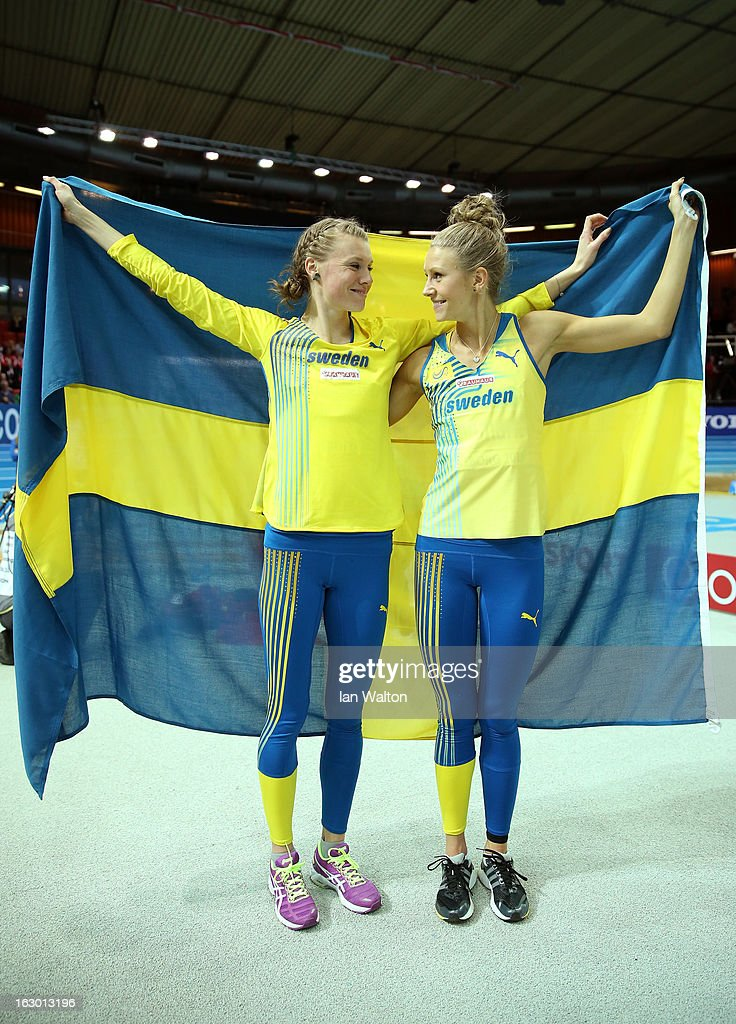 Bronze medalist Emma Green Tregaro of Sweden and silver medalist Ebba Jungmark of Sweden celebrate after the Women's High Jump Final during day three of European Indoor Athletics at Scandinavium on March 3, 2013 in Gothenburg, Sweden.