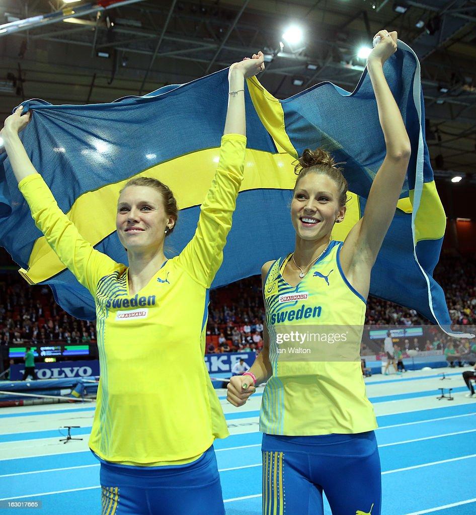 Bronze medalist Emma Green Tregaro of Sweden and silver medalist Ebba Jungmark of Sweden celebrate after the Women's High Jump Final during day three of European Indoor Athletics at Scandinavium on March 3, 2013 in Gothenburg, Sweden.