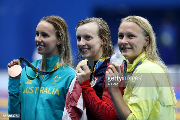 Bronze medalist Emma McKeon gold medalist Katie Ledecky of the United States and silver medalist Sarah Sjostrom of Sweden pose during the medal...