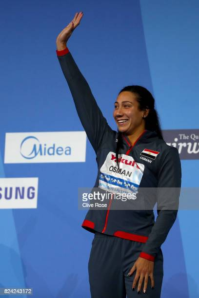 Bronze medalist Farina Osman of Egypt poses during the medal ceremony for the Women's 50m Butterfly final on day sixteen of the Budapest 2017 FINA...