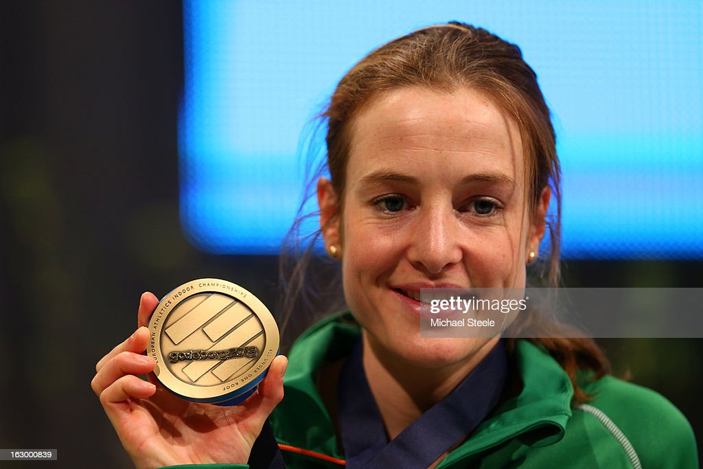 Bronze medalist Fionnuala Britton of Ireland poses during the victory ceremony for the Women's 3000m during day three of European Indoor Athletics at Scandinavium on March 3, 2013 in Gothenburg, Sweden.