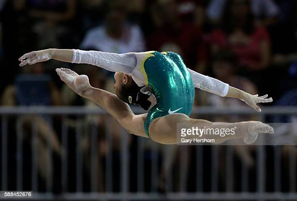 Bronze medalist Flavia Lopes Saraiva of Brazil performs on the balance beam during the women's all around gymnastics competition at the Toronto 2015...