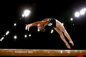 Bronze medalist Georgina Hockenhull of Wales competes in the Women's Beam Final at SSE Hydro during day nine of the Glasgow 2014 Commonwealth Games...