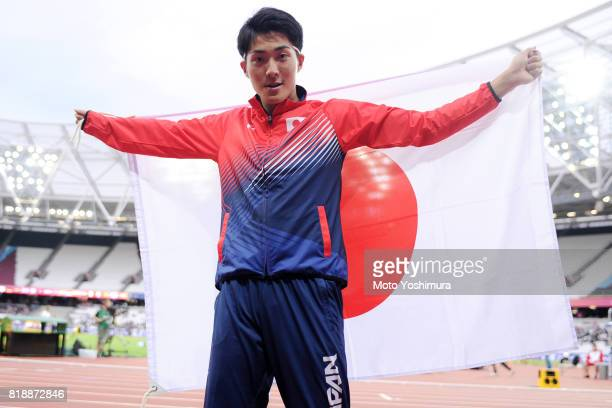 Bronze medalist Hajimu Ashida of Japan celebrates after the medal ceremony for the Men's Triple Jump T47 during the IPC World ParaAthletics...