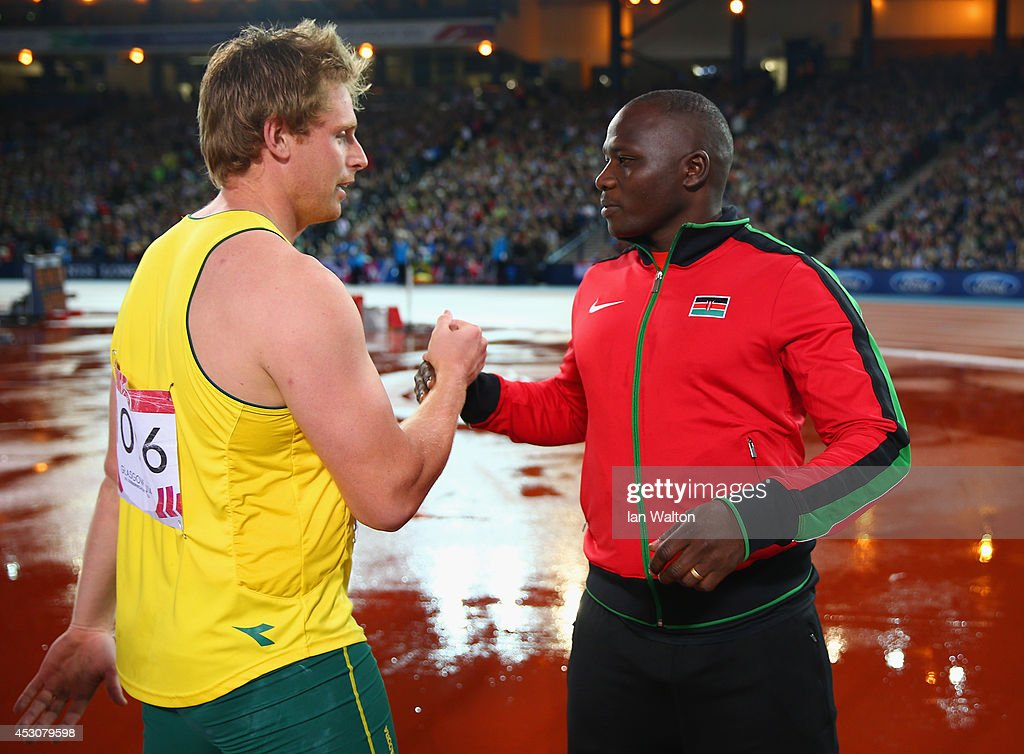 Bronze medalist Hamish Peacock of Australia congratulates gold medalist Julius Kiplangat Yego of Kenya after the Men's Javelin final at Hampden Park during day ten of the Glasgow 2014 Commonwealth Games on August 2, 2014 in Glasgow, United Kingdom.
