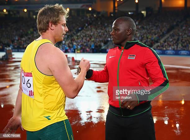 Bronze medalist Hamish Peacock of Australia congratulates gold medalist Julius Kiplangat Yego of Kenya after the Men's Javelin final at Hampden Park...