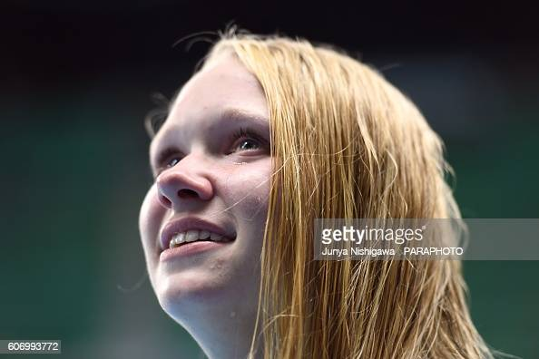 Bronze medalist Hannah Aspden of United States celebrates on the podium at the medal ceremony for the Women's 100m Backstroke S9 Final on day 9 of...