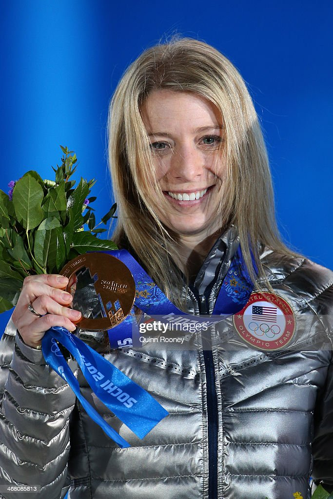 Bronze medalist <a gi-track='captionPersonalityLinkClicked' href=/galleries/search?phrase=Hannah+Kearney&family=editorial&specificpeople=228988 ng-click='$event.stopPropagation()'>Hannah Kearney</a> of the United States during the medal ceremony for the Ladies' Moguls Final 3 celebrates during the medal ceremony for the Ladies' Moguls Final 3 celebrates during the medal ceremony for the Ladies' Moguls Final 3 on day 2 of the Sochi 2014 Winter Olympics at Medals Plaza on February 9, 2014 in Sochi, .