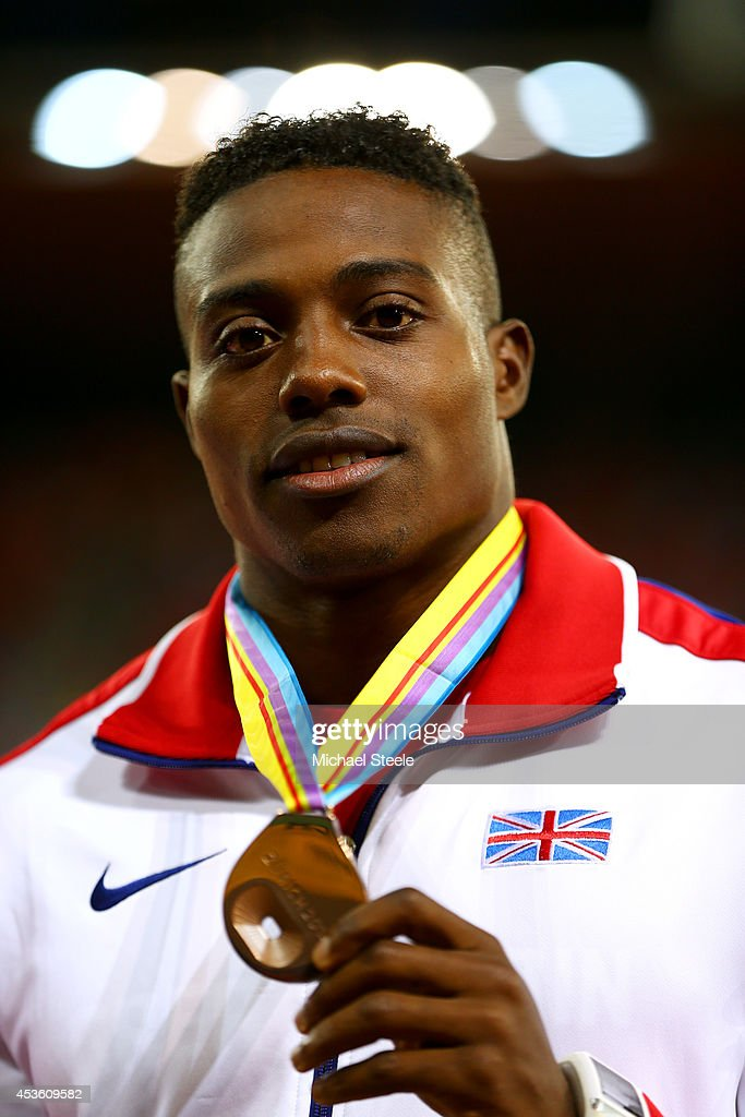 Bronze medalist <a gi-track='captionPersonalityLinkClicked' href=/galleries/search?phrase=Harry+Aikines-Aryeetey&family=editorial&specificpeople=247216 ng-click='$event.stopPropagation()'>Harry Aikines-Aryeetey</a> of Great Britain and Northern Ireland poses with his medal during the medal ceremony for the Men's 100 metres final during day three of the 22nd European Athletics Championships at Stadium Letzigrund on August 14, 2014 in Zurich, Switzerland.