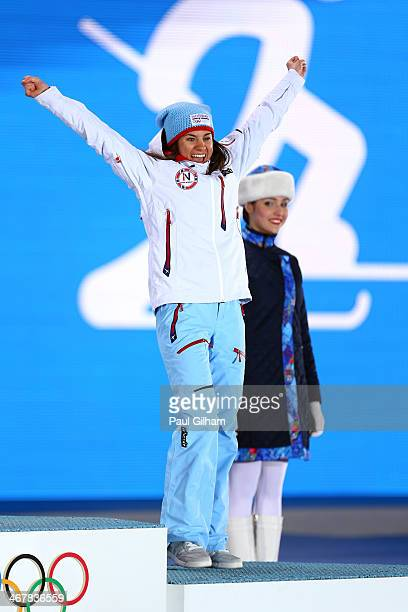 Bronze medalist Heidi Weng of Norway on the podium during the medal ceremony for the for the for the Women's Skiathlon 75km Classic 75km Free during...