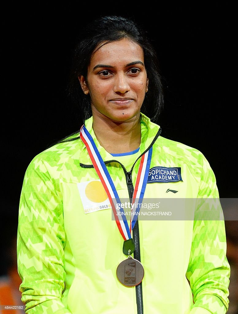 Bronze medalist India s Pusarla Venkata Sindhu reacts during the