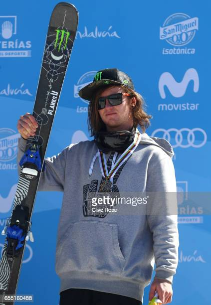 Bronze medalist James Woods of Great Britain poses during the medal cermony for the Men's Slopestyle final on day twelve of the FIS Freestyle Ski...