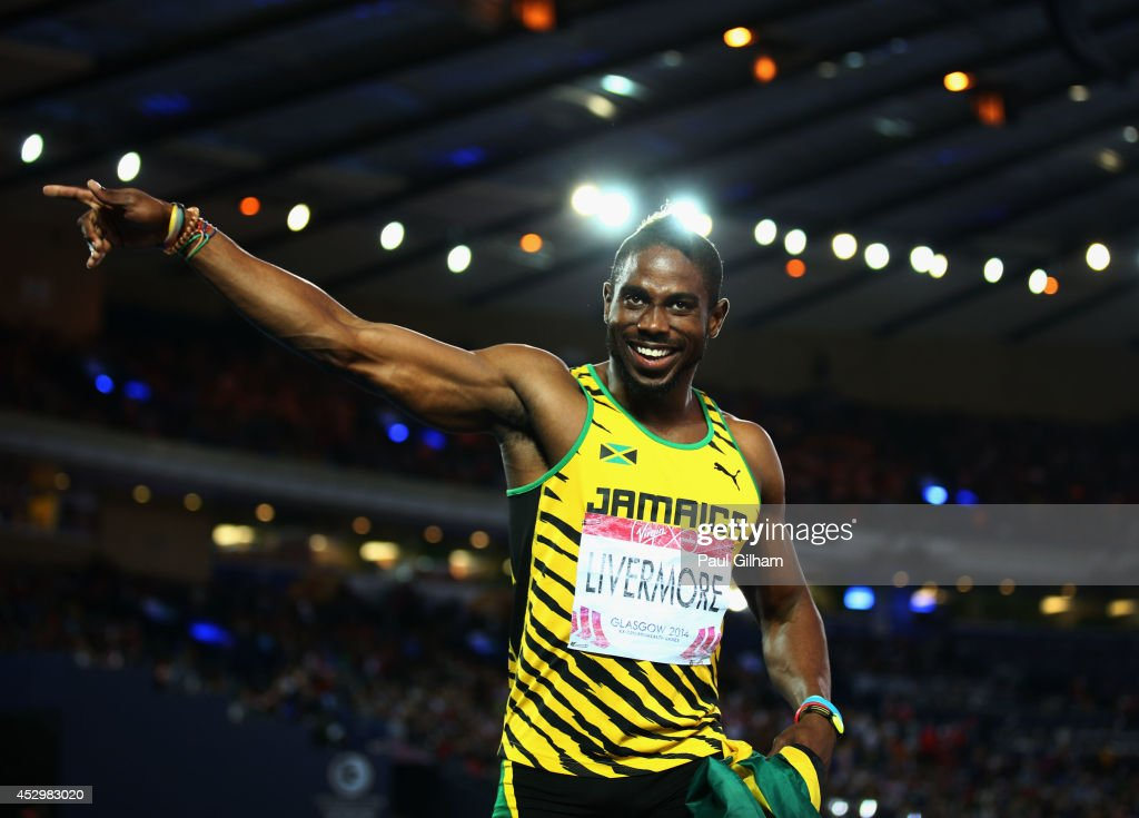 Bronze medalist <a gi-track='captionPersonalityLinkClicked' href=/galleries/search?phrase=Jason+Livermore&family=editorial&specificpeople=7165850 ng-click='$event.stopPropagation()'>Jason Livermore</a> of Jamaica celebrates after the Men's 200 metres Final at Hampden Park during day eight of the Glasgow 2014 Commonwealth Games on July 31, 2014 in Glasgow, United Kingdom.