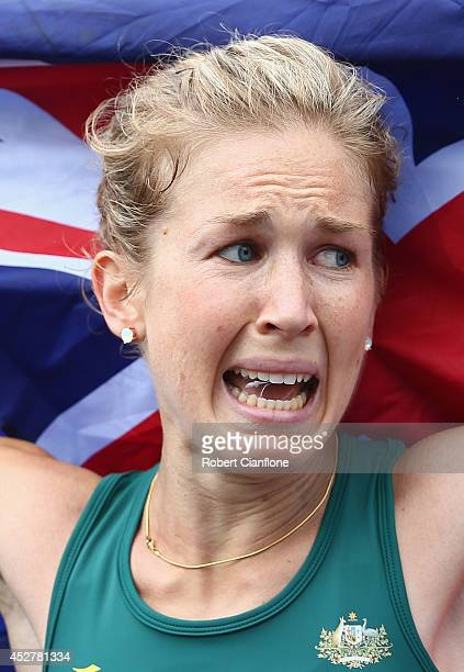 Bronze medalist Jess Tengrove of Australia shows her emotions after the Women's Marathon during day four of the Glasgow 2014 Commonwealth Games on...