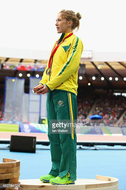Bronze medalist Jess Tengrove of Australia stands on the podium during the medal ceremony for the Women's Marathon at Hampden Park Stadium during day...