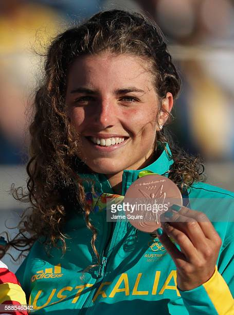 Bronze medalist Jessica Fox of Australia poses with her medal during the medal ceremony for the Women's Kayak on Day 6 of the Rio 2016 Olympics at...