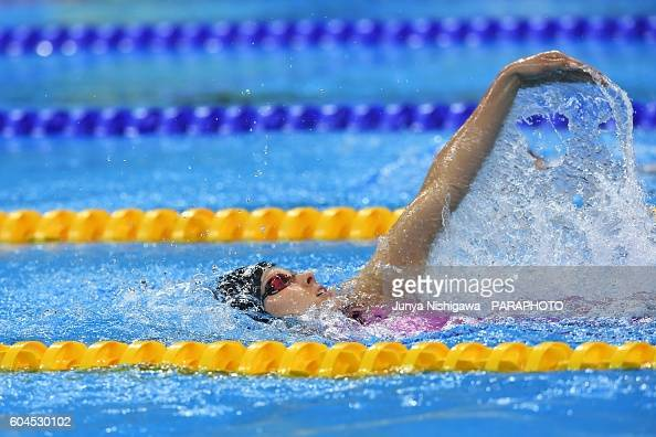 Bronze medalist Jessica Long of the US competes in the Wonen's 100M Backstroke S8 Final on day 6 of the Rio 2016 Paralympic Games at Olympic Aquatics...