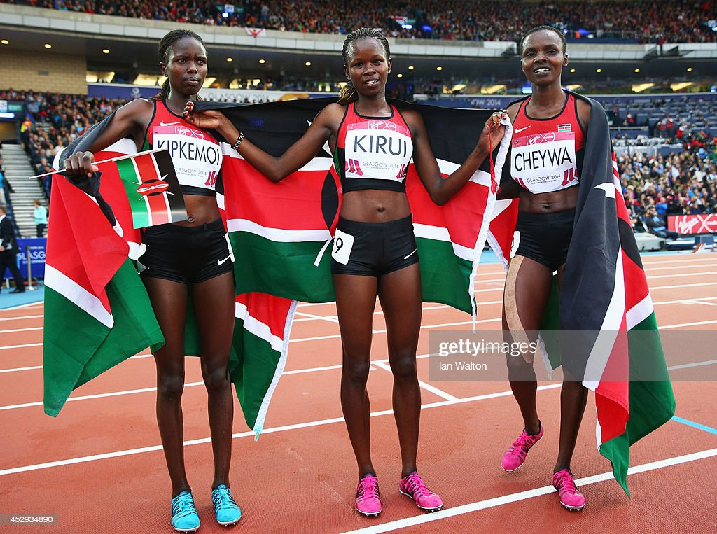 Bronze medalist Joan Kipkemoi of Kenya, gold medalist Purity Kirui of Kenya and silver medalist Milcah Cheywa of Kenya pose after the Women's 3000 metres Steeplechase at Hampden Park during day seven of the Glasgow 2014 Commonwealth Games on July 30, 2014 in Glasgow, United Kingdom.