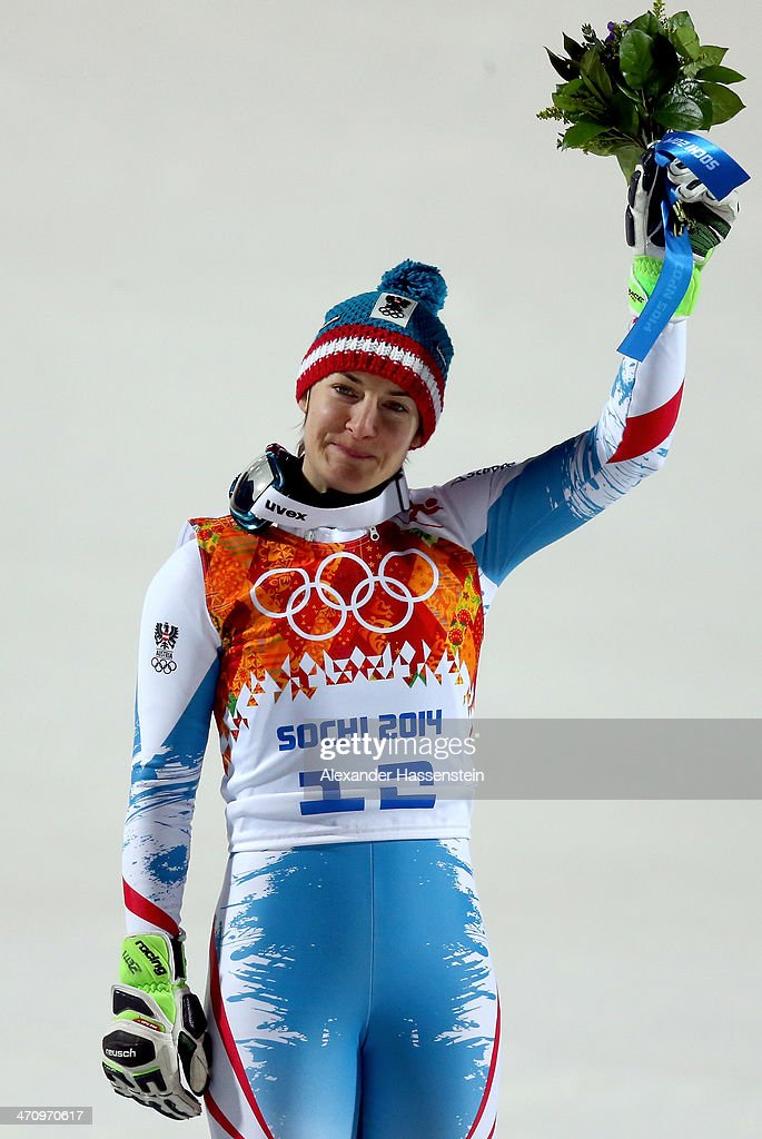 Bronze medalist Kathrin Zettel of Austria celebrates during the flower ceremony for the Women's Slalom during day 14 of the Sochi 2014 Winter Olympics at Rosa Khutor Alpine Center on February 21, 2014 in Sochi, Russia.