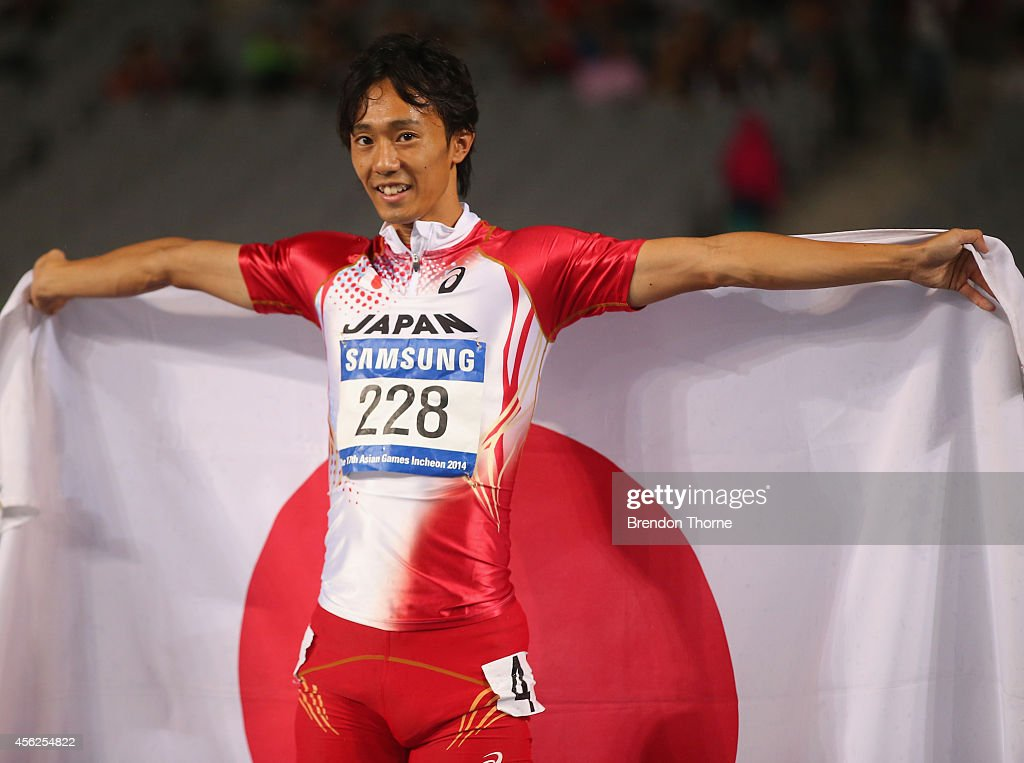 Bronze medalist <a gi-track='captionPersonalityLinkClicked' href=/galleries/search?phrase=Kei+Takase&family=editorial&specificpeople=7933891 ng-click='$event.stopPropagation()'>Kei Takase</a> of Japan celebrates after competing in the Men's 100m Final during day nine of the 2014 Asian Games at Incheon Asiad Main Stadium on September 28, 2014 in Incheon, South Korea.