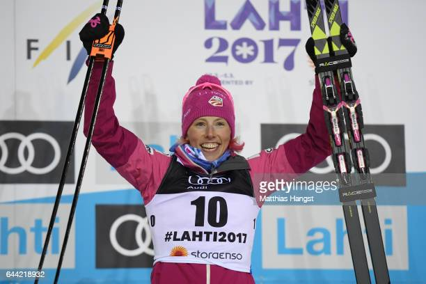 Bronze medalist Kikkan Randall of the United States celebrates following the Women's 14KM Cross Country Sprint final during the FIS Nordic World Ski...