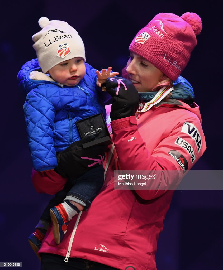 Bronze medalist Kikkan Randall of the United States celebrates with her son Breck Stuart on the podium during the medal ceremony after the Women's 1.4KM Cross Country Sprint final during the FIS Nordic World Ski Championships onon February 24, 2017 in Lahti, Finland.