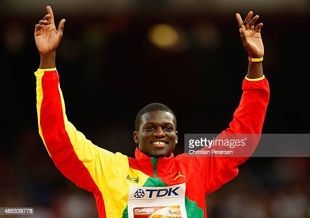 Bronze medalist Kirani James of Grenada poses on the podium during the medal ceremony for the Men's 400 metres final during day six of the 15th IAAF...