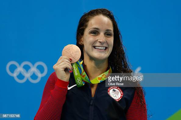 Bronze medalist Leah Smith of the United States poses on the podium during the medal ceremony for the Women's 400m Freestyle Final on Day 2 of the...