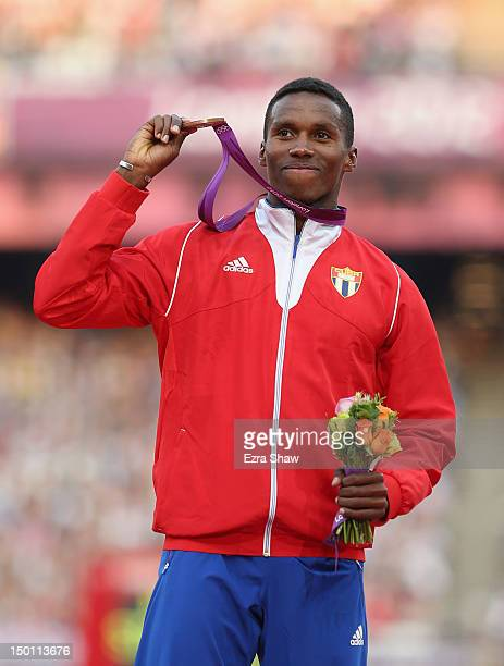 Bronze medalist Leonel Suarez of Cuba poses on the podium during the medal ceremony for the Men's Decathlon on Day 14 of the London 2012 Olympic...