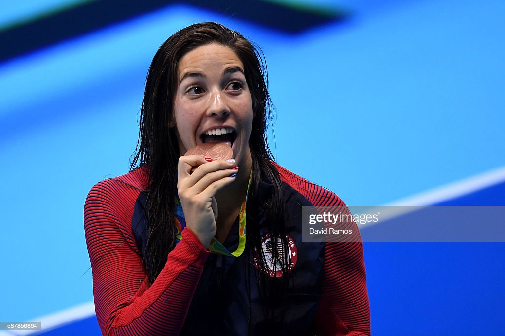 Bronze medalist Madeline Dirado of the United States poses during the medal ceremony for the Women's 200m Individual Medley Final on Day 4 of the Rio...