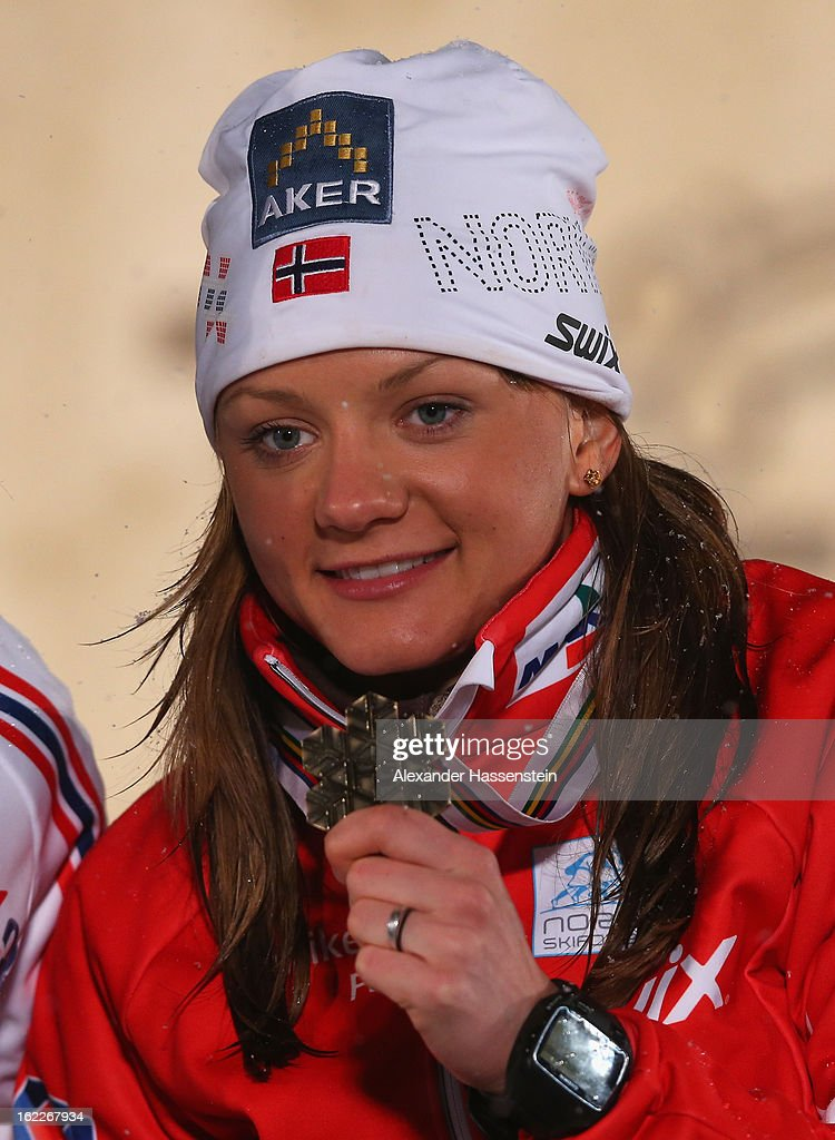 Bronze medalist Maiken Caspersen Falla of Norway poses at the medal ceremony for the Women's Cross Country 1.2km Classic Sprint Final at the FIS Nordic World Ski Championships on February 21, 2013 in Val di Fiemme, Italy.