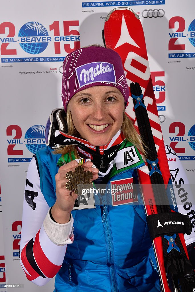 Bronze medalist <a gi-track='captionPersonalityLinkClicked' href=/galleries/search?phrase=Michaela+Kirchgasser&family=editorial&specificpeople=722582 ng-click='$event.stopPropagation()'>Michaela Kirchgasser</a> of Austria poses after the Ladies' Alpine Combined on Day 8 of the 2015 FIS Alpine World Ski Championships on February 9, 2015 in Beaver Creek, Colorado.