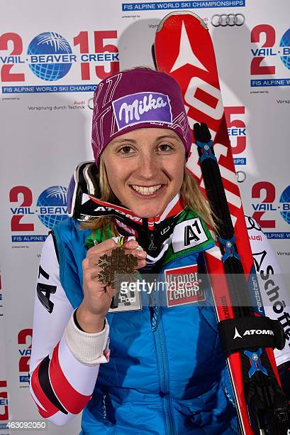 Bronze medalist Michaela Kirchgasser of Austria poses after the Ladies' Alpine Combined on Day 8 of the 2015 FIS Alpine World Ski Championships on...