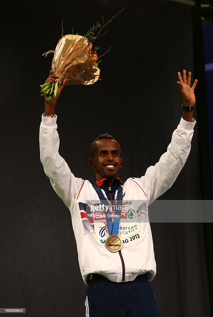 Bronze medalist Mukhtar Mohammed of Great Britain and Northern Ireland poses during the victory ceremony for the Men's 800m during day three of European Indoor Athletics at Scandinavium on March 3, 2013 in Gothenburg, Sweden.