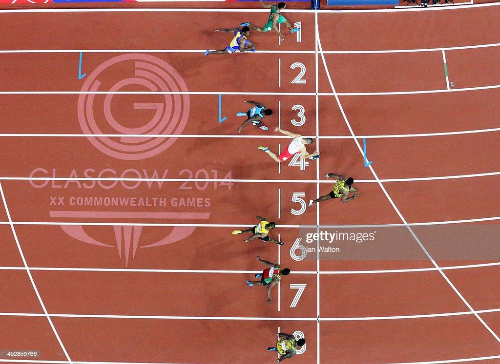 Bronze medalist Nickel Ashmeade of Jamaica Antoine Adams of St Kitts and Nevis Jason Livermore of Jamaica Gold medalist Kemar BaileyCole of Jamaica...