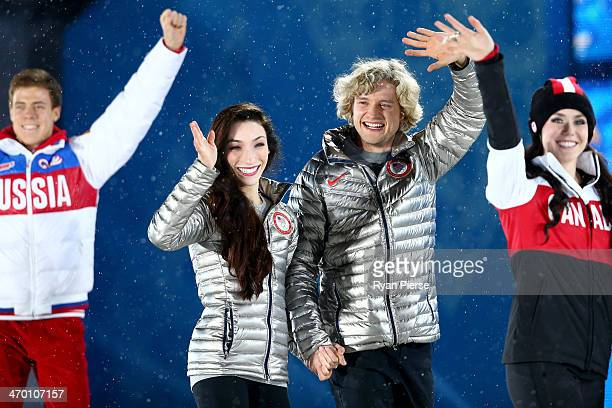 Bronze medalist Nikita Katsalapov of Russia gold medalists Meryl Davis and Charlie White of the United States and silver medalist Tessa Virtue of...