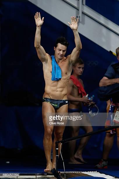 Bronze medalist Patrick Hausding of Germany celebrates winning the bronze in the Men's Diving 3m Springboard final at the Maria Lenk Aquatics Centre...