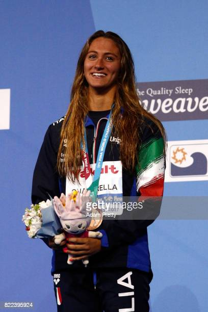 Bronze medalist Simona Quadarella of Italy poses with the medal won during the Women's 1500m Freestyle on day twelve of the Budapest 2017 FINA World...