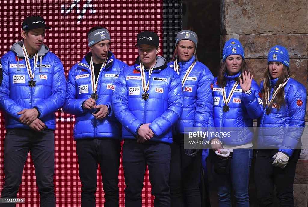 Bronze medalist Swedish team (L to R) <a gi-track='captionPersonalityLinkClicked' href=/galleries/search?phrase=Andre+Myhrer&family=editorial&specificpeople=835341 ng-click='$event.stopPropagation()'>Andre Myhrer</a>, <a gi-track='captionPersonalityLinkClicked' href=/galleries/search?phrase=Markus+Larsson&family=editorial&specificpeople=800277 ng-click='$event.stopPropagation()'>Markus Larsson</a>, <a gi-track='captionPersonalityLinkClicked' href=/galleries/search?phrase=Mattias+Hargin&family=editorial&specificpeople=4131687 ng-click='$event.stopPropagation()'>Mattias Hargin</a>, Anna Swenn-Larsson, Maria Pietiläe Holmner and <a gi-track='captionPersonalityLinkClicked' href=/galleries/search?phrase=Sara+Hector&family=editorial&specificpeople=7471002 ng-click='$event.stopPropagation()'>Sara Hector</a> react during the medal ceremony of the 2015 World Alpine Ski Championships nation team event on February 10, 2015 in Vail, Colorado.