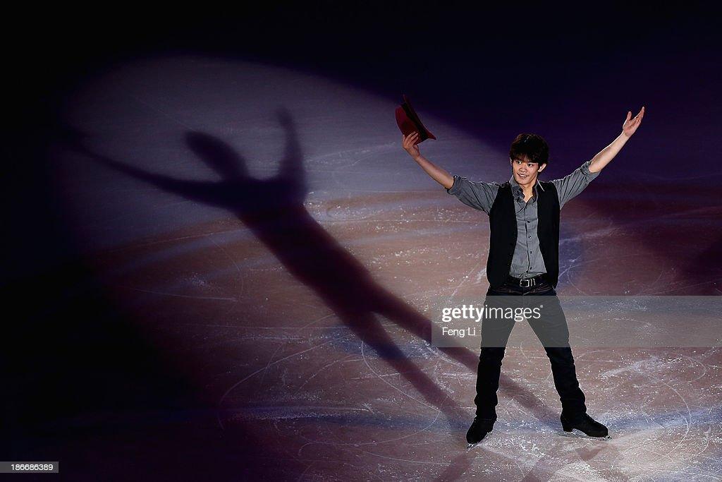 Bronze medalist Takahiko Kozuka of Japan performs during Lexus Cup of China ISU Grand Prix of Figure Skating 2013 at Beijing Capital Gymnasium on November 3, 2013 in Beijing, China.