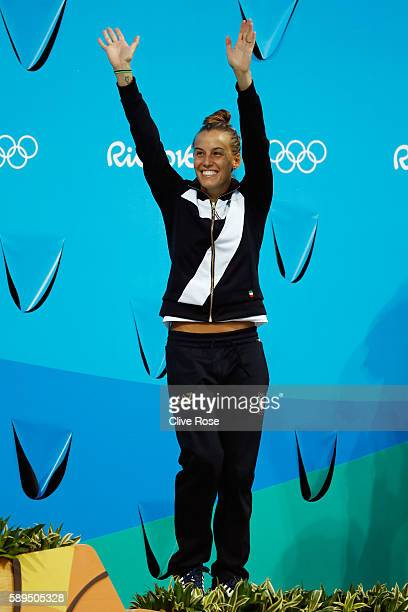 Bronze medalist Tania Cagnotto of Italy poses on the podium during the medal ceremony for the Women's Diving 3m Springboard Final on Day 9 of the Rio...