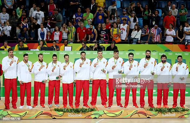 Bronze medalist team Spain celebrates on the podium on Day 16 of the Rio 2016 Olympic Games at Carioca Arena 1 on August 21 2016 in Rio de Janeiro...