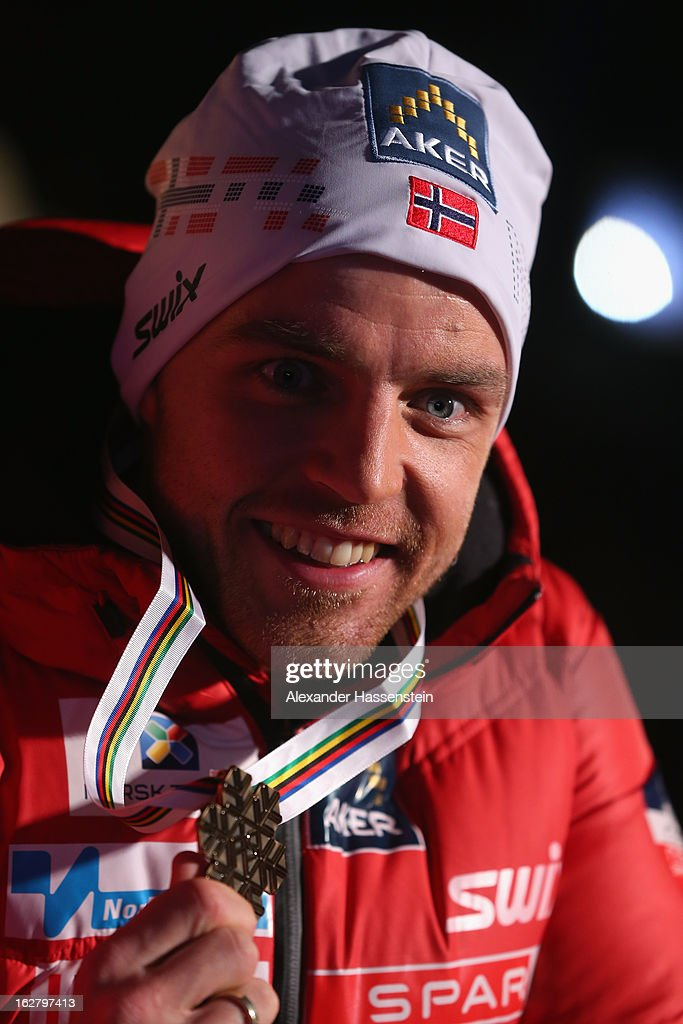 Bronze medalist Tord Asle Gjerdalen of Norway poses at the medal ceremony for the Men's Cross Country Individual 15km at the FIS Nordic World Ski Championships on February 27, 2013 in Val di Fiemme, Italy.