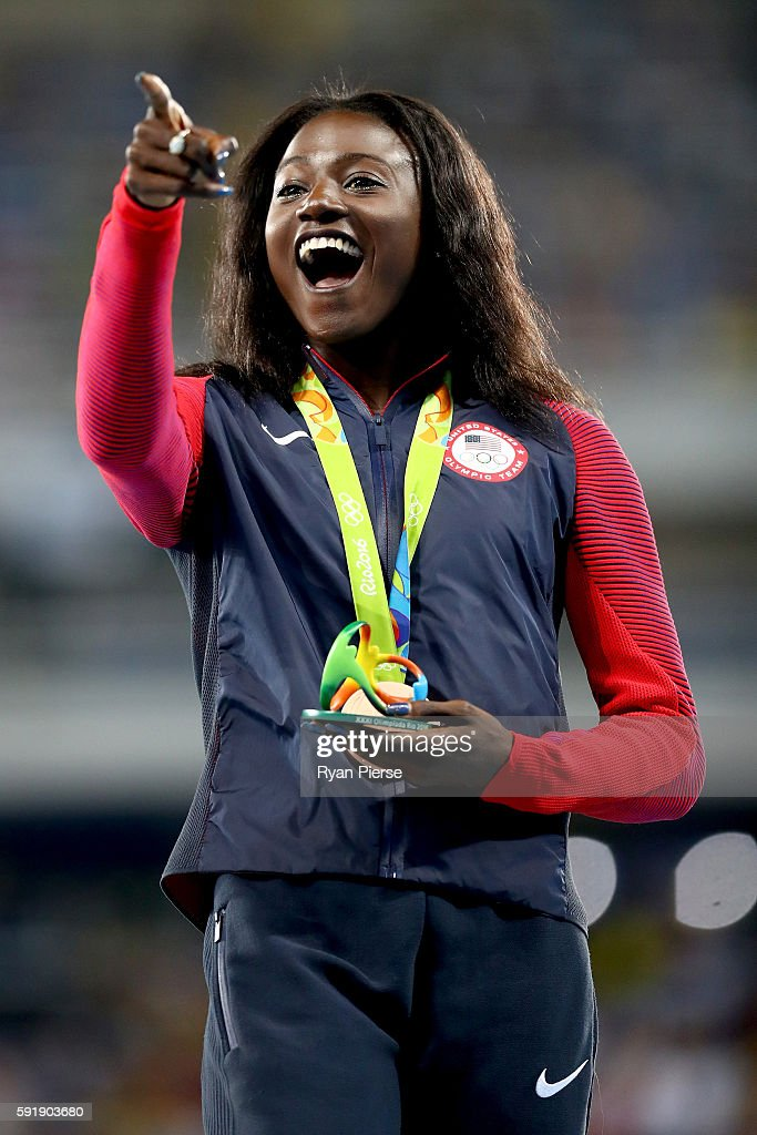 Bronze medalist Tori Bowie of the United States poses on the podium during the medal ceremony for the Women's 200m on Day 13 of the Rio 2016 Olympic...
