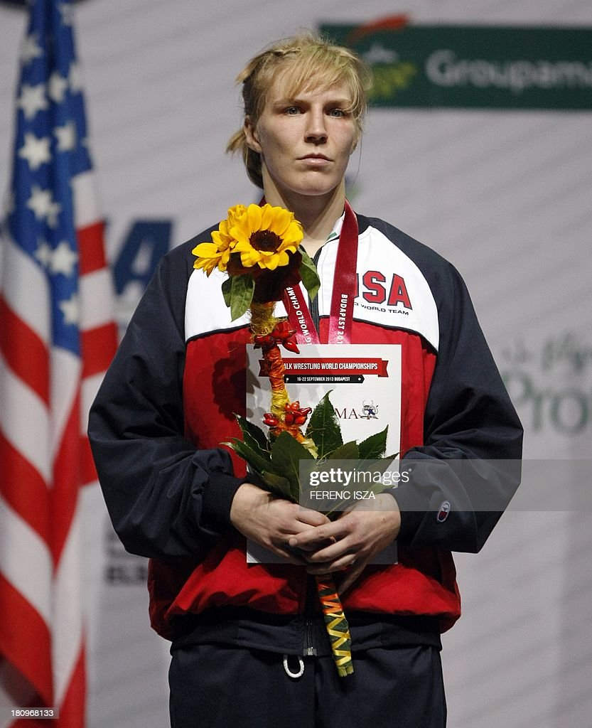 Bronze medalist USA's Alyssa Rae Nicole Lampe listens an anthem on the podium of the women's free style 48 kg category of the World Wrestling Championships in Budapest on September 18, 2013.