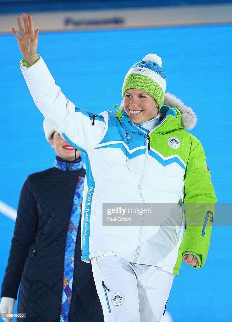 Bronze medalist <a gi-track='captionPersonalityLinkClicked' href=/galleries/search?phrase=Vesna+Fabjan&family=editorial&specificpeople=817752 ng-click='$event.stopPropagation()'>Vesna Fabjan</a> of Slovenia celebrates during the medal ceremony for the Ladies' Sprint Free on day five of the Sochi 2014 Winter Olympics at Medals Plaza on February 12, 2014 in Sochi, Russia.