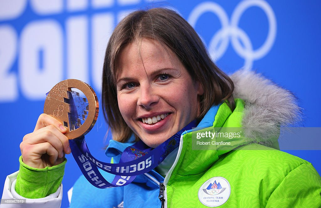 Bronze medalist <b>Vesna Fabjan</b> of Slovenia celebrates during the medal <b>...</b> - bronze-medalist-vesna-fabjan-of-slovenia-celebrates-during-the-medal-picture-id468982573