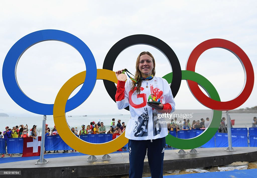Bronze medalist Vicky Holland of Great Britain poses for a photo during the medal ceremony for the Women's Triathlon on Day 15 of the Rio 2016 Olympic Games at Fort Copacabana on August 20, 2016 in Rio de Janeiro, Brazil.