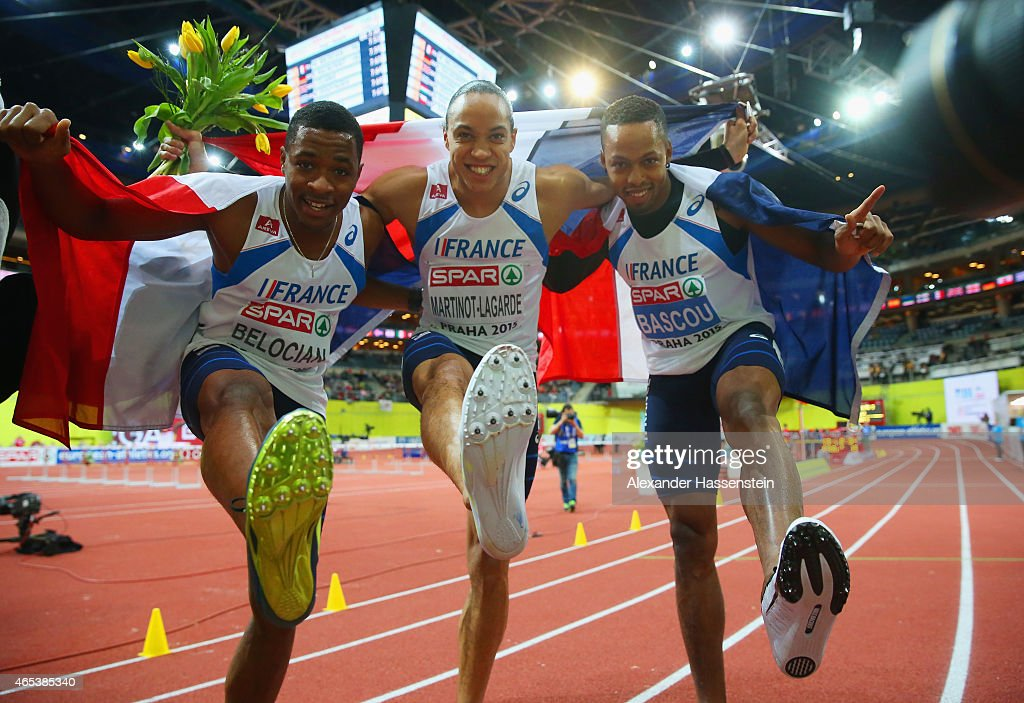 Bronze medalist Wilhern Belocian of France gold medalist Pascal MartinotLagarde of France and silver medalist Dimitri Bascou of France pose after the...
